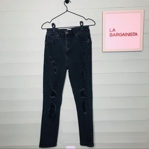 Cotton On High 90s Distressed Black Jeans Denim